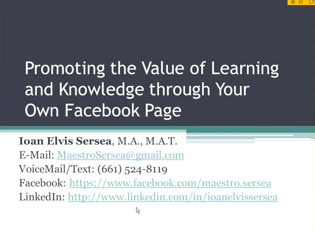 OTC13: Promoting the Value of Learning and Knowledge through Your Own Facebook Page